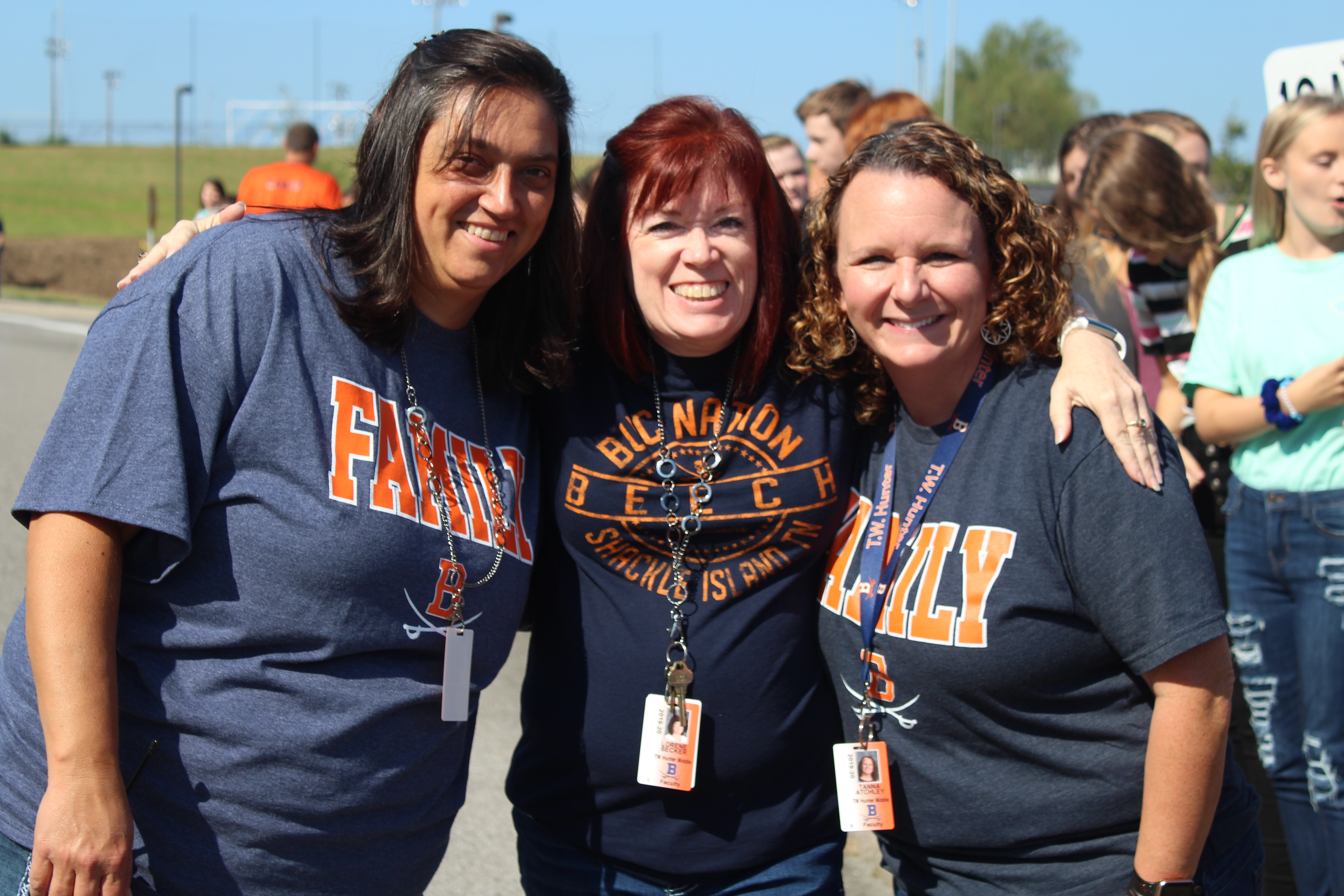 Teachers celebrate homecoming at the parade.