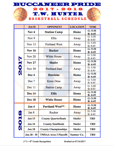 2017-2018 Boys Basketball Schedule