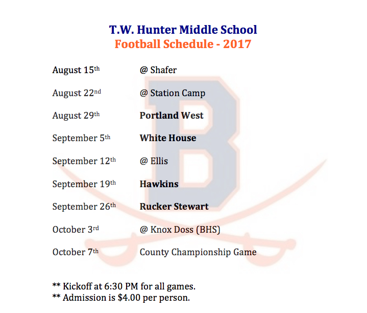 TWH Football Schedule 2017