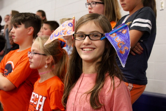 T.W. Hunter student shows her school spirit at the pep rally.